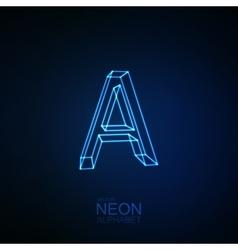 Neon 3D letter A vector image