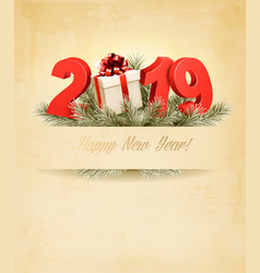 new year holiday background with a 2019 and a vector image