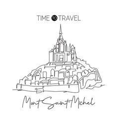 one continuous line drawing le mont saint michel vector image
