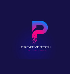 P initial letter logo design with digital pixels vector