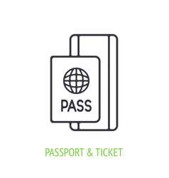 passport with ticket outline icon vector image