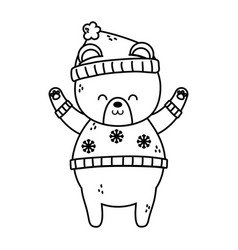 polar bear with hat hands up merry christmas thick vector image