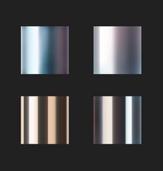 Realistic chrome metal templates set on black vector