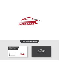Repair car logo silhouette car and wrench symbol vector