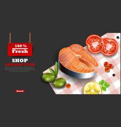 Salmon steak realistic organic fish meat vector