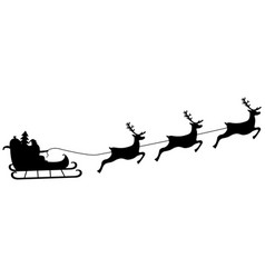 santa claus rides in harness on the reindeer vector image