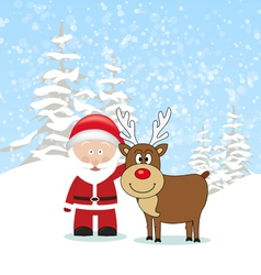 Santa Claus with Reindeer vector image