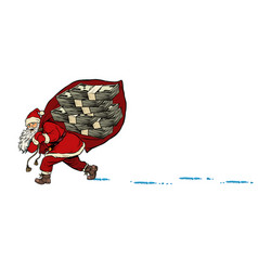 Santa with a dollars money prize christmas and vector