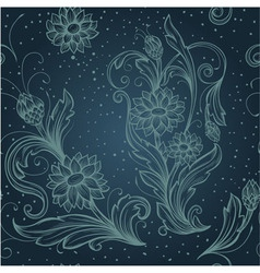 Seamless blue pattern with decorative flowers vector
