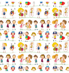 seamless pattern tile cartoon with kids playing vector image