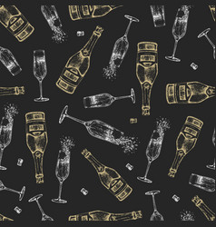 Seamless pattern with hand drawing champagne vector
