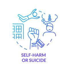 Self-harm and self-murder injury concept icon vector