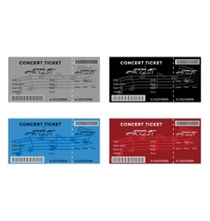 Set of Colorful Concert Tickets with Musical Notes vector image