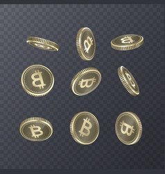 set of icons coins on transparent background vector image