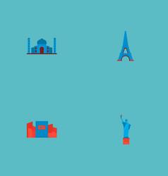 Set of monument icons flat style symbols with taj vector