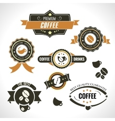 set vintage retro coffee badges and labels vector image