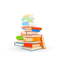 several stacks different textbooks isolated on vector image