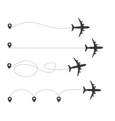 Silhouette black plane and track set vector