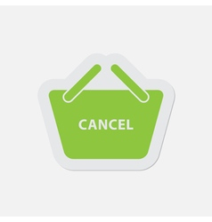 simple green icon - shopping basket cancel vector image