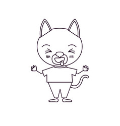 Sketch silhouette caricature of cute cat in vector
