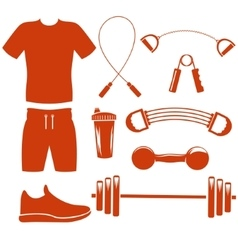 Sport equipment silhouette template vector
