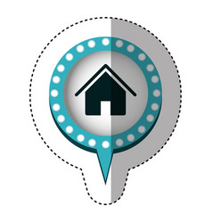 sticker with house in circular speech with blue vector image