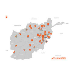 Stylized afghanistan map showing big cities vector