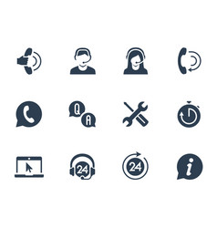 Support service and telemarketing icon set vector