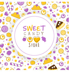 sweet candy store card template with tasty sweets vector image