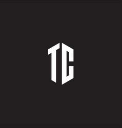 Tc logo monogram with hexagon shape style design vector