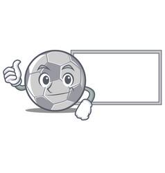 Thumbs up with board football character cartoon vector