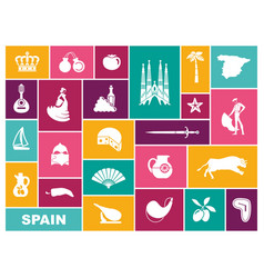 traditional symbols spain flat icons vector image