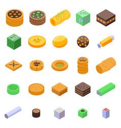 Turkish sweets icons set isometric style vector