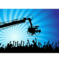 Tv camera with crowds vector