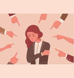Unhappy young woman surrounded hands with index vector