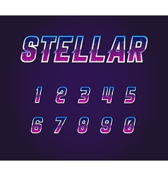 Universe Pulsar 80s Retro Sci-Fi Font Numbers Set vector image