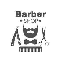 Vintage barbershop badge or logo vector