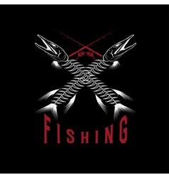 Vintage fishing emblem with skeleton of pike vector