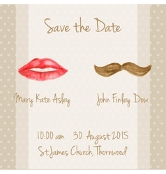 Wedding card with woman lips and men moustaches vector