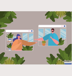Woman and man avatar on websites in video chat vector