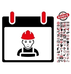 Worker Calendar Day Flat Icon With Bonus vector