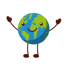 World planet earth comic character vector