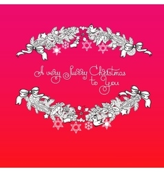 Xmas garland and handwritten words A Very Merry vector
