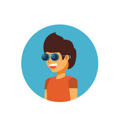 young man with sunglasses avatar character vector image