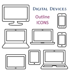 Black digital device outline icons vector