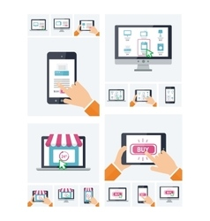 Flat design online shop website on various devices vector image vector image