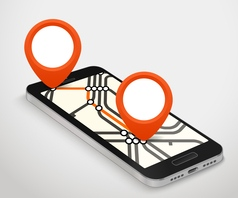 Modern smartphone with abstract metro map Dark vector image