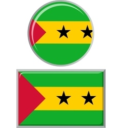 Sao Tome and Principe round square icon flag vector image vector image