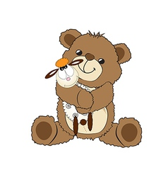 teddy bear playing with his toy a little sheep vector image vector image