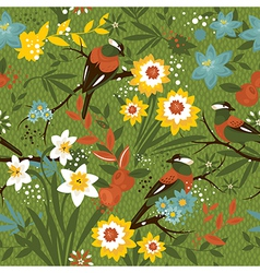 Vintage seamless floral pattern with birds vector